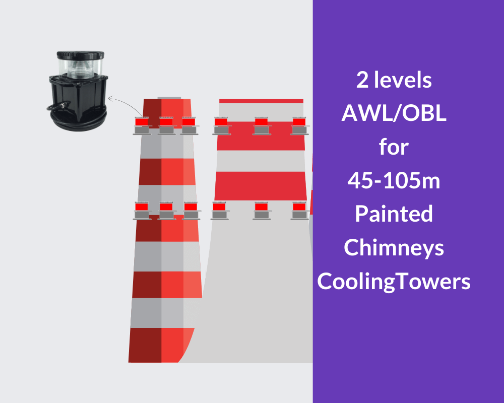 obstruction lights for 45-105m chimney cooling towers