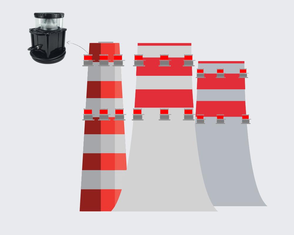 luces de obstrucción para chimeneas torres de enfriamiento