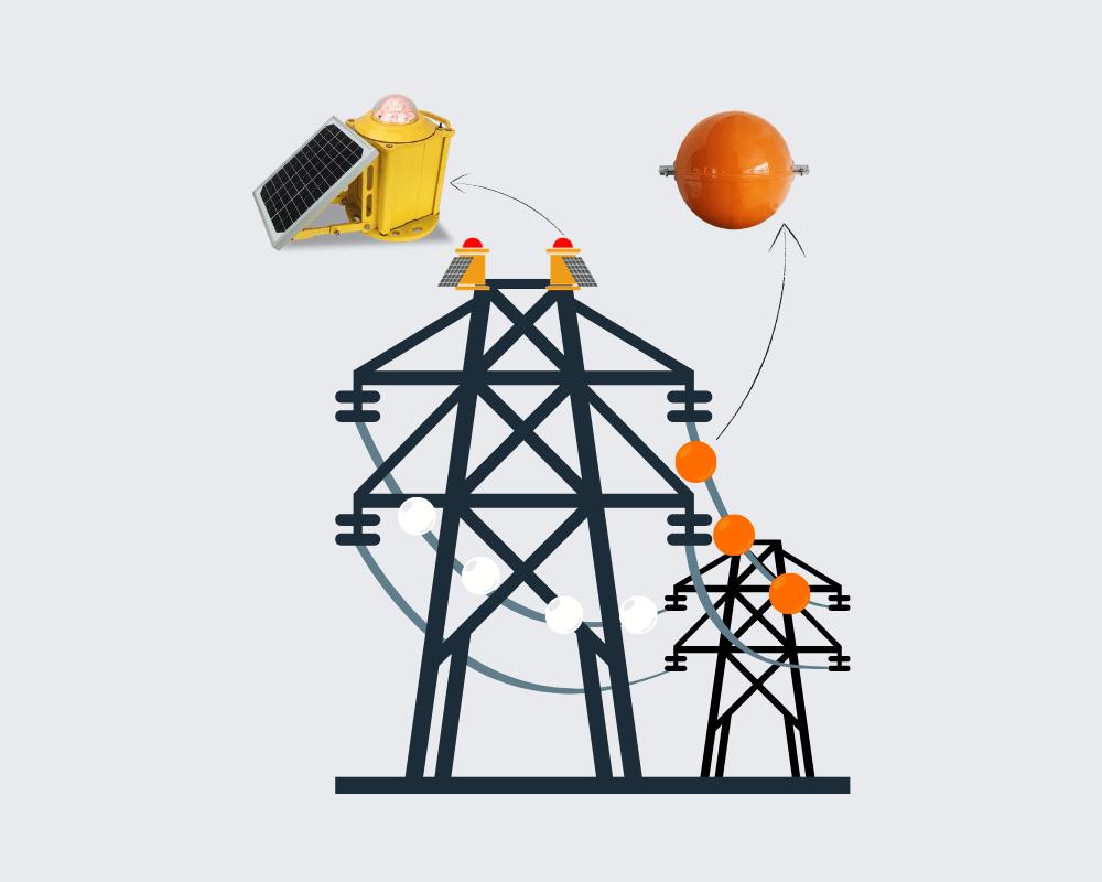 luzes de obstrução movidas a energia solar para torres de transmissão